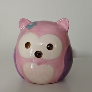 Other - Glass Owl Piggy Bank Pink and Purple Kids